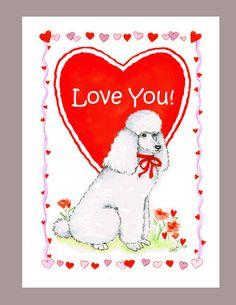 White Poodle Valentine Card by Judzart on Etsy