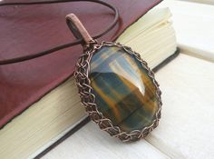 Natural Blue Tiger's Eye Pendant Wire Wrapped by EmmaWyattArt