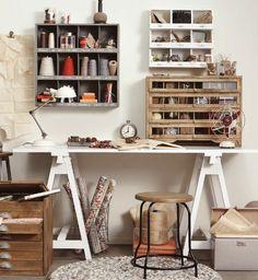 Home office studio creative workspace sewing rooms ideas Diy Crafts Desk, Craft Room Desk, Craft Room Storage, Space Crafts, Craft Space, Craft Rooms, Small Storage, Storage Shelves, Shelving