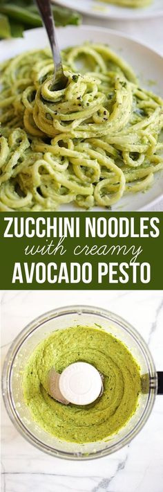 Noodles with Creamy Avocado Pesto - Eat Yourself Skinny Zucchini seeds & Basil planted. Garlic already sprouted up. This will be a summer dish, Zucchini Noodles with Creamy Avocado Pesto Low Carb Recipes, Whole Food Recipes, Vegetarian Recipes, Cooking Recipes, Recipes Dinner, Ketogenic Recipes, Vegan Meals, Lunch Recipes, Avocado Pesto