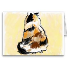 Calico from the back, digital painting. $3.90 per card