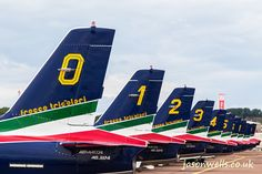 Frecce Tricolori lined up.  See the rest of my aviation images in full size by clicking on the thumbnail.  They are also available to buy in a variety for formats or as a digital download without the watermark. #FrecceTricolori #riat