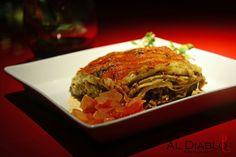 Lasagna de cordero, berenjenas y muzzarella.