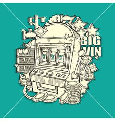 Vintage slot machine vector by igorij on VectorStock®