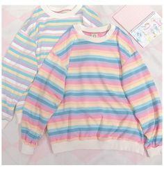 MACAROON STRIPE SWEATER BY21123 #striped #sweater #aesthetic #stripedsweateraesthetic MACAROON STRIPE SWEATER BY21123 Pastel Fashion, Kawaii Fashion, Cute Fashion, Fashion Outfits, Kawaii Clothes, Pastel Clothes, Aesthetic Fashion, Aesthetic Clothes, Aesthetic Sweaters