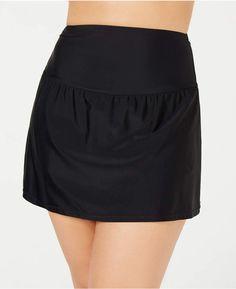 Island Escape Plus Size Tummy-Control Swim Skirt, Created for Macy's - Black Trendy Plus Size Clothing, Plus Size Fashion For Women, Plus Size Lingerie, Plus Size Swimwear, Swim Skirt, Swim Dress, Plus Size Skirts, Swimsuit Cover Ups, Black Girl Fashion