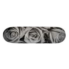 Monochromatic Roses Skateboard - floral style flower flowers stylish diy personalize