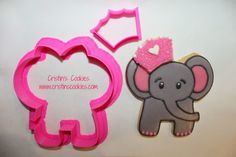 Cristin's Cookies: An Elephant Never Forgets - Cookies & Cookie CuttersElephant cookie cutters IN STOCK here: www.cristinscookiecuttes.com #elephantcookiecutter Ellie Elephant with mini crown cookie cutter