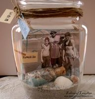 MEMORY JAR!! Take a photo and small token from the trip (sand, shells, dried flowers) and put in a jar. Could do a wedding too!   *THIS is a great idea for the pets that have passed!