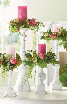 Dress up your pillar candles with our Chloe Candle Ring Set. These small wreaths of lifelike flowers, greenery, and berries add romance and a sense of occasion. Try elevating them on tall candlesticks to let the greenery drape gently. Flameless Candles, Pillar Candles, Floating Candles, Home Decoracion, Christmas Decorations, Table Decorations, Spring Decorations, Holiday Decorating, Wedding Centerpieces