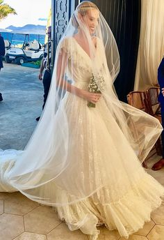 Selby Drummond Wore Couture Giambattista Valli to Her Anguilla Wedding - Vogue Princess Wedding Dresses, Best Wedding Dresses, Boho Wedding Dress, Wedding Gowns, Bridal Veils, Backless Wedding, Gold Wedding, Wedding Bells, Ball Dresses
