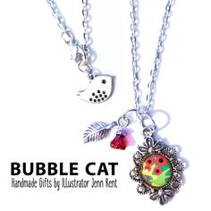 Abstract Red Poppies Charm Necklace by Bubble Cat All Illustrations by Jenn Kent Bubble Cat, Organza Gift Bags, Abstract Flowers, Glass Domes, Red Poppies, Beaded Flowers, Bubbles, Charmed, Illustrations