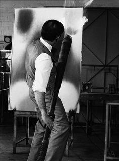 Yves Klein Making of Fire Paintings at the testing plant of Gaz de France, La Plaine Saint-Denis, 1962.