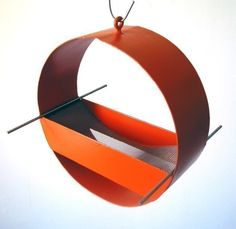 Charm Modern Bird Feeder in Orange by joepapendick on Etsy