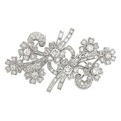 Late Thirties Double Clip Diamond Brooch