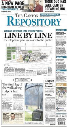 The front page of The Canton Repository for February 14, 2017. Read more at cantonrep.com
