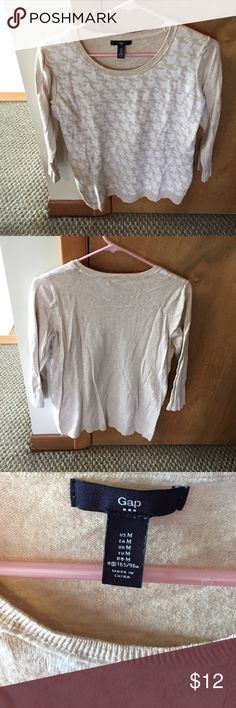Gap outlet sweater- great for everyday anytime! Cream and tan colored sweater, three quarter length sleeves.  Worn a few times, in good condition. GAP Sweaters Crew & Scoop Necks