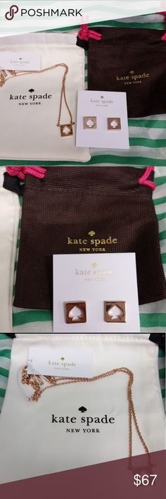 ♠️Kate Spade hole punch necklace & earrings set NWT Kate Spade hole punch necklace and earring set in rose gold. Each comes with their own Kate Spade dust bag. Such a pretty set! I ship same day or next day,and I accept all reasonable offers! Bundle with the other Kate Spade items in my closet,too! kate spade Jewelry Necklaces