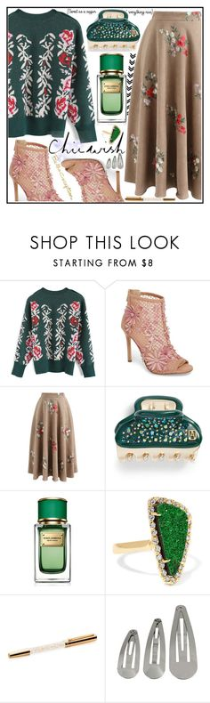 """""""Chicwish Set"""" by iconexpressions ❤ liked on Polyvore featuring Chicwish, Jessica Simpson, Alexandre de Paris, Dolce&Gabbana, Kimberly McDonald, Swarovski, contest, chicwish and contestentry"""