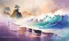 Bleu Pacifique, océan aquarelle Art par Michael David Sorensen. Peinture côtière. Fracas des vagues. Oeuvre de plage. Aquarelles de la côte du Pacifique.