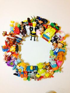 McDonald's toy wreath. Junk toys found at the bottom of every toy box.  Made in China junk.  Fast food toys. Little plastic toys.