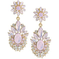 Carolee Gold-Tone Pastel Stone Flower Clip-On Drop Earrings ($75) ❤ liked on Polyvore featuring jewelry, earrings, accessories, violet, gold tone earrings, drop earrings, earrings jewelry, clip-on earrings and stone jewelry