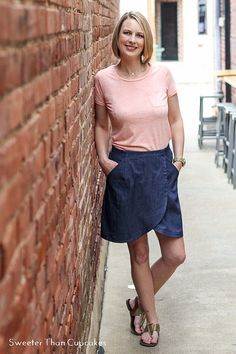 Courtney's Liesl + Co City Stroll Wrap Skirt in denim turned out so cute!