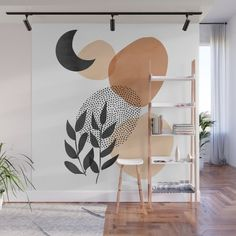 Under the Moon Wall Mural by cafelab Wall Murals, Mural Art, Cafe Interior, Interior Design, Bedroom Decor, Wall Decor, Home Office Storage, Colour Schemes, Contemporary Interior