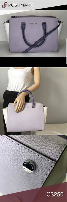 """BNWT Michael Kors Large Selma Satchel Multi Color Large Selma Topzip Satchel Optic White Lilac Purple Saffiano Leather.  Tote handles. Removable shoulder strap.  Top zip. Inside, monogram lining; one zip and four compartments. Color: Optic White/Lilac White/Lilac Colour   Description  MICHAEL Michael Kors Large Selma Silver-tone hardware; signature plaque at front Saffiano Leather Double top hanldes with 5"""" drop; adjustable long strap with 22"""" drop Interior features zip pocket, 4 slip… Lilac Color, Purple, Shoulder Strap, Satchel, Monogram, Michael Kors, Interior, Leather, Things To Sell"""