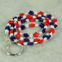 ID Badge Lanyard Patriotic Blue White Red Stars #red #white #blue #usa #patriotic #july4 #work