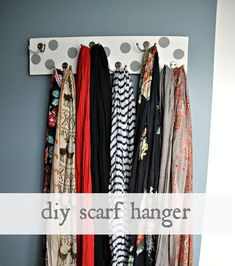 15 DIY Scarf Organizer Ideas - Fashion Diva Design.....need this.between my daughter and I ,we have a million scarves
