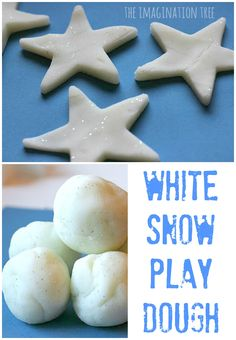 Play Dough Recipe for sparkly white snow play dough!Recipe for sparkly white snow play dough!White Play Dough Recipe for sparkly white snow play dough!Recipe for sparkly white snow play dough! Noel Christmas, Winter Christmas, Christmas Crafts, Snow Crafts, Christmas Decorations, Holiday Decor, Play Doh, Frozen Playdough, Recipes