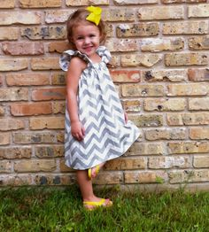 Girl's Grey Chevron Dress with Ruffled Sleeves by MaddieMaeCompany