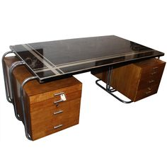 View this item and discover similar for sale at - Incredible Art Deco desk from Woolworth's executive offices. The laminate top is wide. Art Deco Desk, Art Deco Home, Art Deco Furniture, Retro Furniture, Art Nouveau, Art Et Architecture, Modernisme, Art Deco Fashion, Home Decor Accessories