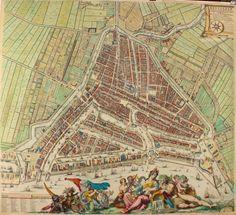 """MOOISTE KAART VAN ROTTERDAM VERSIERD DOOR ROMEIJN DE HOOGHE """"Rotterdam met al syn gebouwen, net op haer maet geteekent en gesneden"""". Ets en kopergravure gedrukt op 6 bladen, vervaardigd door Johannes de Vou en Romeijn de Hooghe in 1694. Later met de hand gekleurd. Afm (prent): 114 x 125,5 cm. (Het betreft hier de plattegrond van Rotterdam, zonder profiel en gezichten van stad en wapens van de bestuurders.)"""