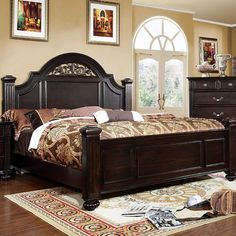 Syracuse California King Bed CM7129CK Descriptions : The paneled headboard and footboard of the bed and mirror incorporates beautiful floral accents that match well with the elegant antique brass hand