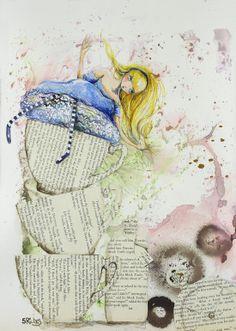 "Saatchi Online Artist: Sara Riches; Paint 2014 Collage ""Alice and the Teacups"" #art #aliceinwonderland #alice"