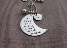 Hand Stamped Jewelry I Love You To The Moon and back with a cute pea size initial charm, handmade Christmas