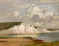 The Seven Sisters - Norman Wilkinson original signed oil paintings, watercolours, drawings, etchings and posters - Robert Perera Fine Art Gallery of Lymington Landscape Paintings, Watercolor Paintings, Oil Paintings, Dazzle Camouflage, Vintage Travel Posters, Fine Art Gallery, Norman, Illustrator, Scenery