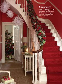 Christmas staircase ~ love the red stair runner. Just a thought . Christmas Stairs, Cozy Christmas, All Things Christmas, Christmas Holidays, Christmas Decorations, Holiday Decor, Christmas Kitchen, Holiday Fun, Holiday Ideas