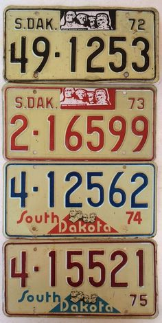 mixed lot of license plates all in good condition man 1972 73 74 75 south dakota license plates