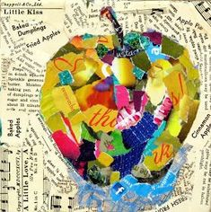 Torn paper collage ....use a variety of words of the object in the middle in different mediums and http://fonts.....eg: here write Apple's or fruit as the background