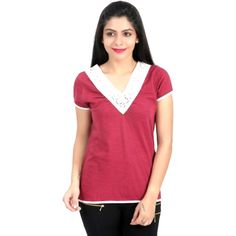 #ChickBird Red Color Knitted Top With Lace @ Calicozkart. Buy Now :   Price : Rs. 790/- #KnittedTops #WomenTops