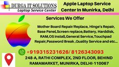 Apple Laptop Service in Munirka, Delhi will repair all types of apple laptop MacBook like:- Macbook OS installation, Data recover, and other work. Apple Laptop Macbook, Apple Repair, Apple Notebook, Laptop Screen Repair, Apple Service, Iphone Repair, Mac Mini, Hyderabad