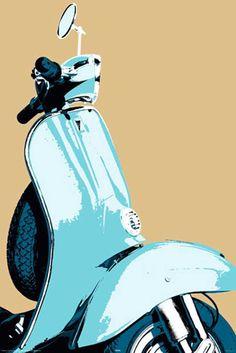 vespa posters | Retro - scooter Vespa - Poster - 61x91,5