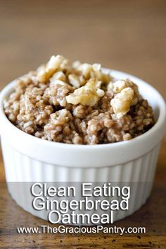 Clean Eating Gingerbread Oatmeal - pi nner said. I've added protein powder and chia seeds to it while cooking then topped it with flax and pure maple syrup. Clean Eating Recipes, Cooking Recipes, Clean Foods, Biscuits, Clean Eating Breakfast, Eating Clean, Healthy Eating, Clean Eating Oatmeal, Good Food