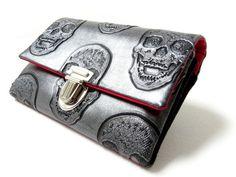 Wallet SKULLS vegan Wallet Womans clutch clutch by ambaZamba $42.20