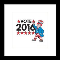 Vote 2016 Uncle Sam Hand Pointing Up Retro Framed Print By Aloysius Patrimonio