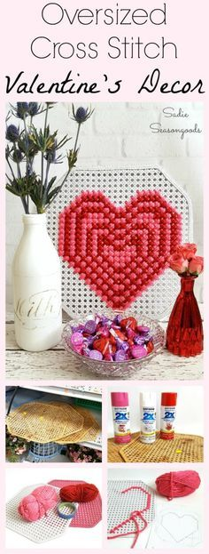 Want to try out cross stitch but feel overwhelmed by the intricacy?? Give oversized or jumbo cross stitch a go first! Using pressed cane webbing, oversized cross stitch (like my Valentine's Day heart here) goes super quickly and is far easier than it's dainty cousin. Fun, festive, easy DIY decor- and you can always find vintage cane elements at the thrift store! #SadieSeasongoods / www.sadieseasongoods.com