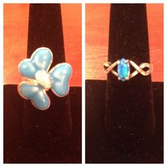 Blue Ring Bundle Never Used | Both Stamped .924 | Sterling Silver | Different Sizes & Colors | Will Sell Separate | Gem One Is A 6.5 | Flower One Is A 7.5 |Trades | Feel Free To Ask Questions | More  Upon Request | Bundles Are 15% Off ❤| Jewelry Rings